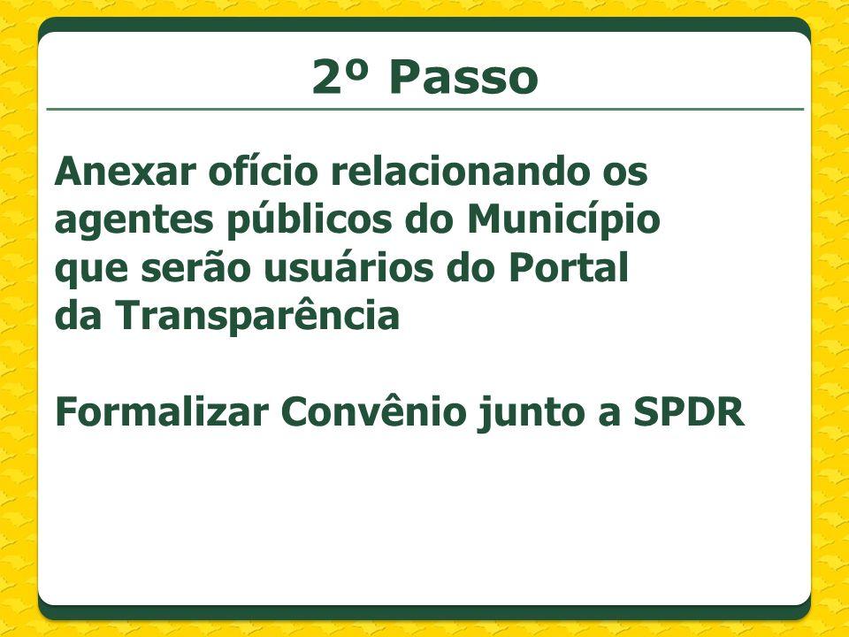 2º Passo Anexar ofício relacionando os agentes públicos do Município que serão usuários do Portal da Transparência.