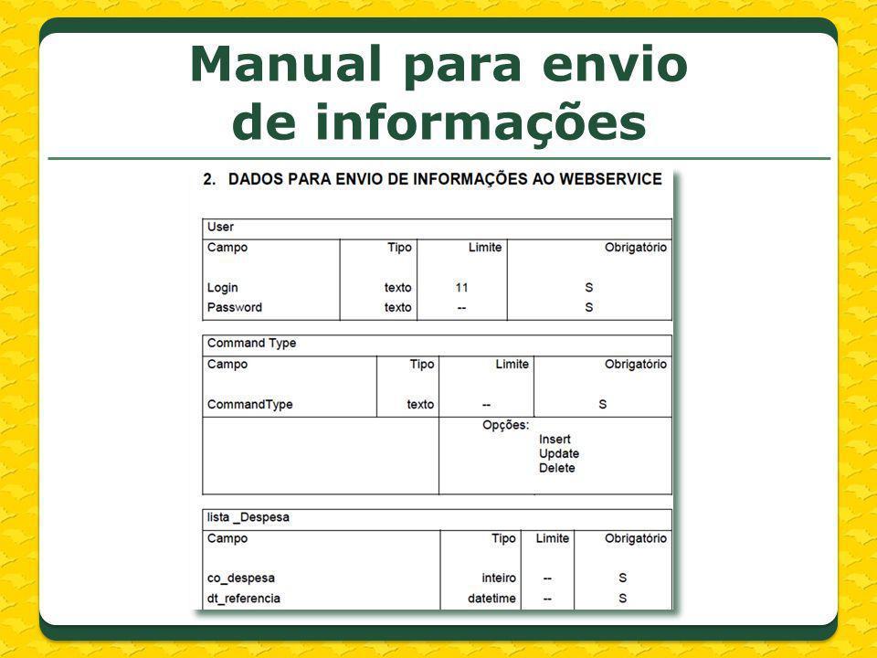 Manual para envio de informações