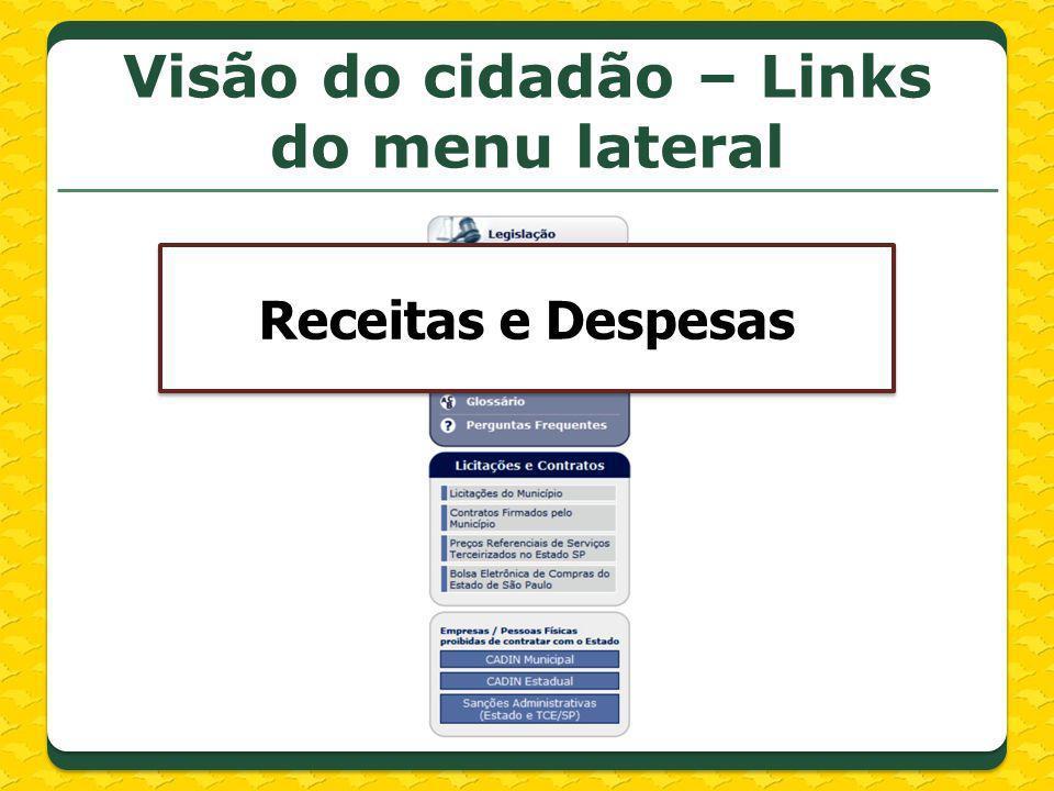 Visão do cidadão – Links do menu lateral