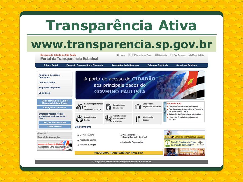 Transparência Ativa www.transparencia.sp.gov.br