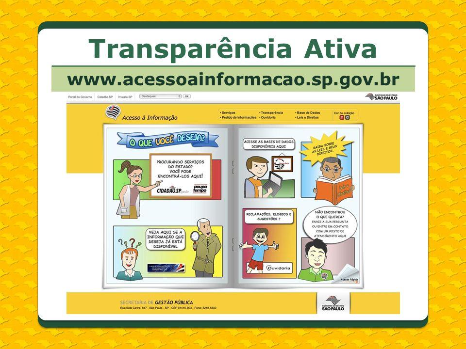 Transparência Ativa www.acessoainformacao.sp.gov.br