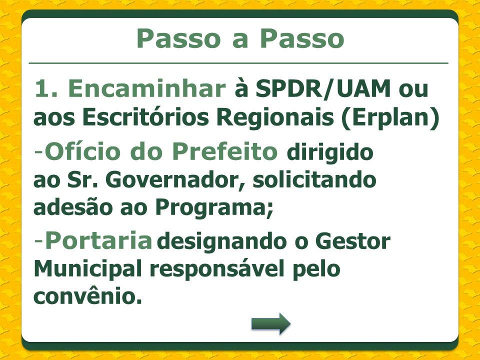 Passo a Passo1. Encaminhar à SPDR/UAM ou aos Escritórios Regionais (Erplan)
