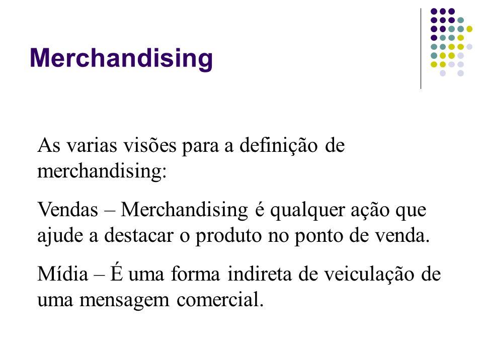 Merchandising As varias visões para a definição de merchandising: