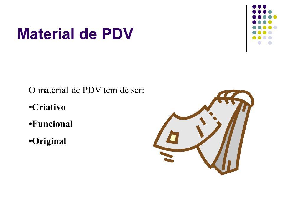Material de PDV O material de PDV tem de ser: Criativo Funcional