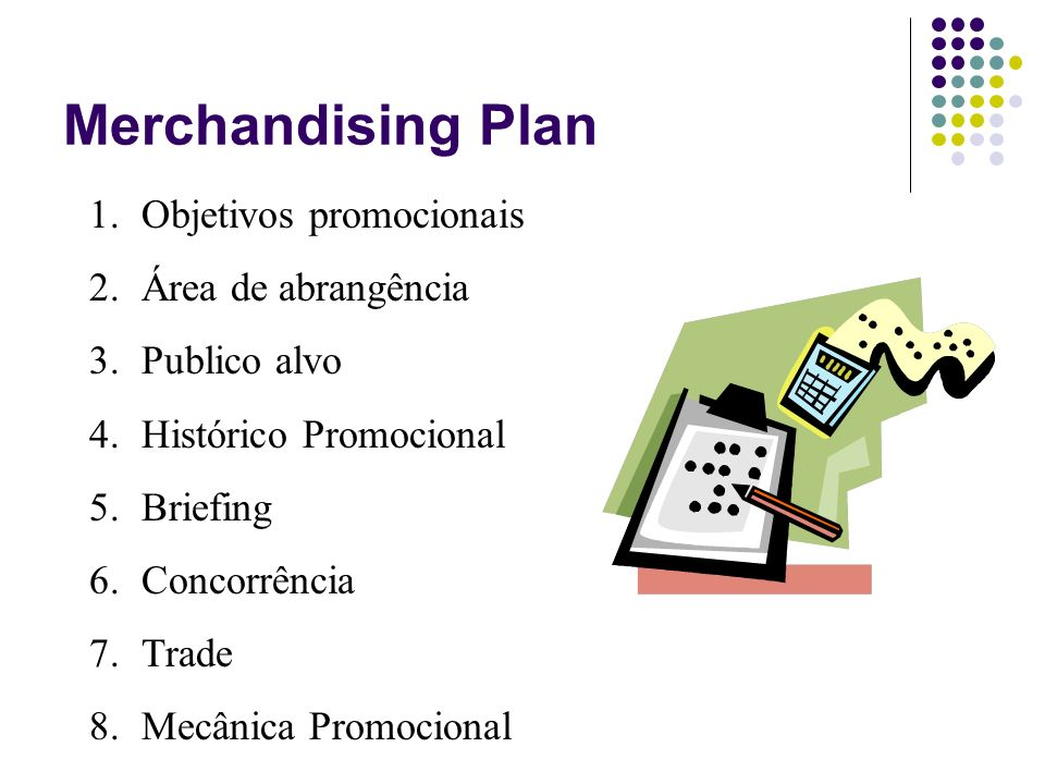 Merchandising Plan Objetivos promocionais Área de abrangência