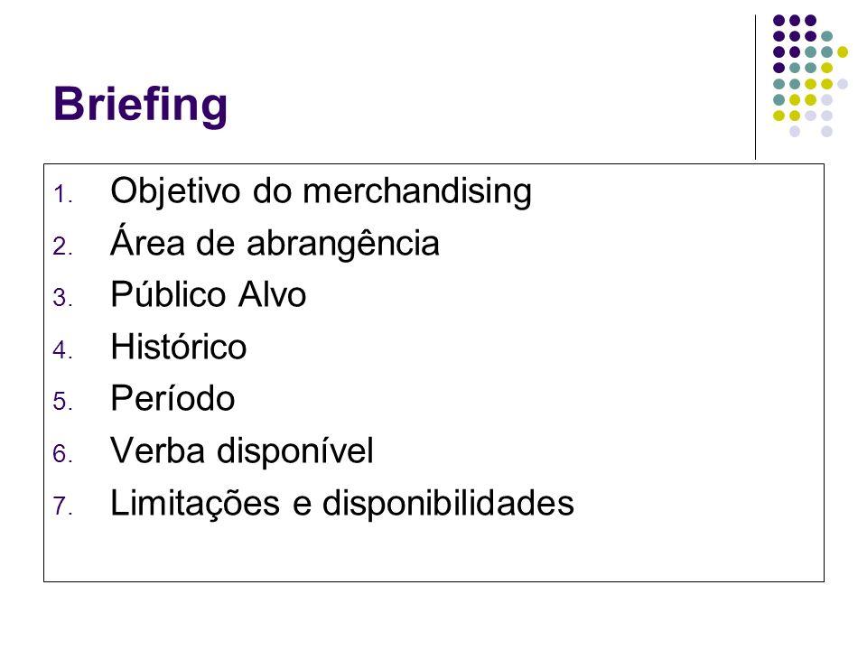 Briefing Objetivo do merchandising Área de abrangência Público Alvo