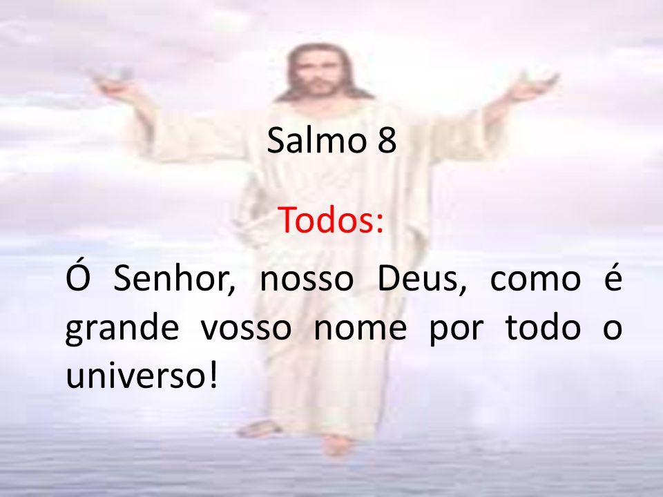 Salmo 8 Todos: Ó Senhor, nosso Deus, como é grande vosso nome por todo o universo!