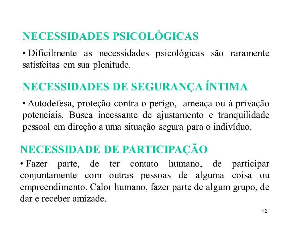 NECESSIDADES PSICOLÓGICAS