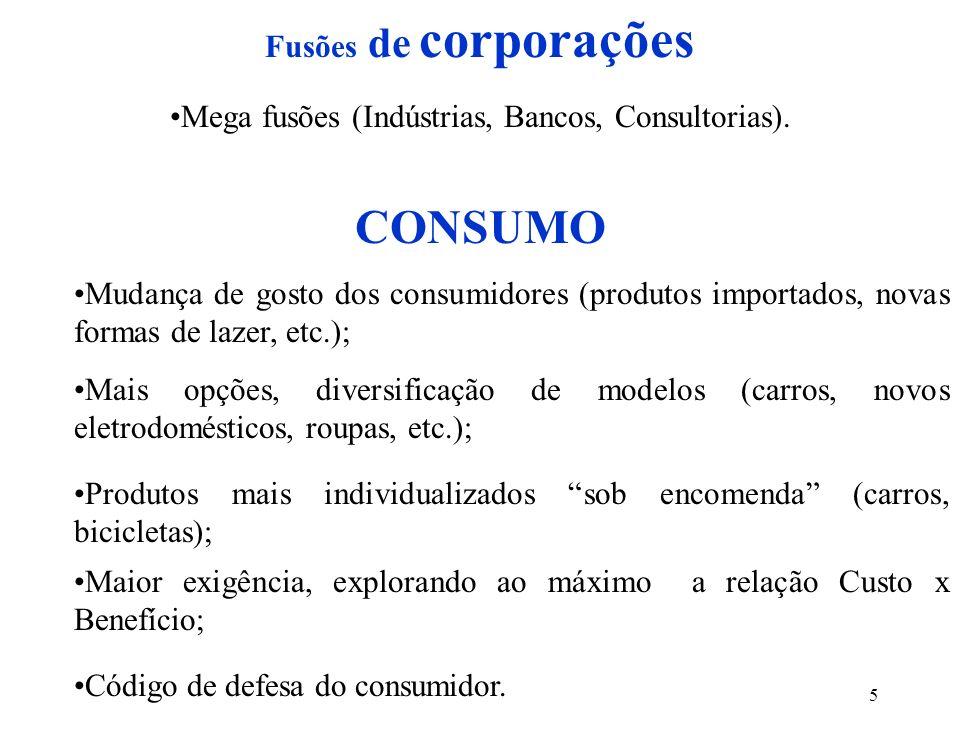 Mega fusões (Indústrias, Bancos, Consultorias).