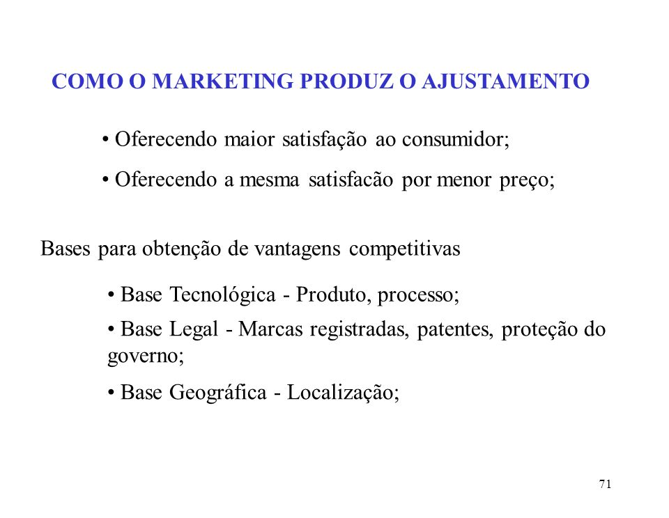 COMO O MARKETING PRODUZ O AJUSTAMENTO