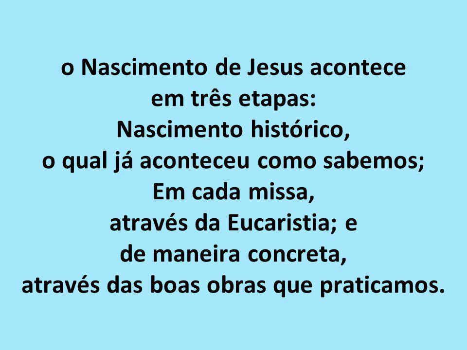 o Nascimento de Jesus acontece em três etapas: Nascimento histórico, o qual já aconteceu como sabemos; Em cada missa, através da Eucaristia; e de maneira concreta, através das boas obras que praticamos.