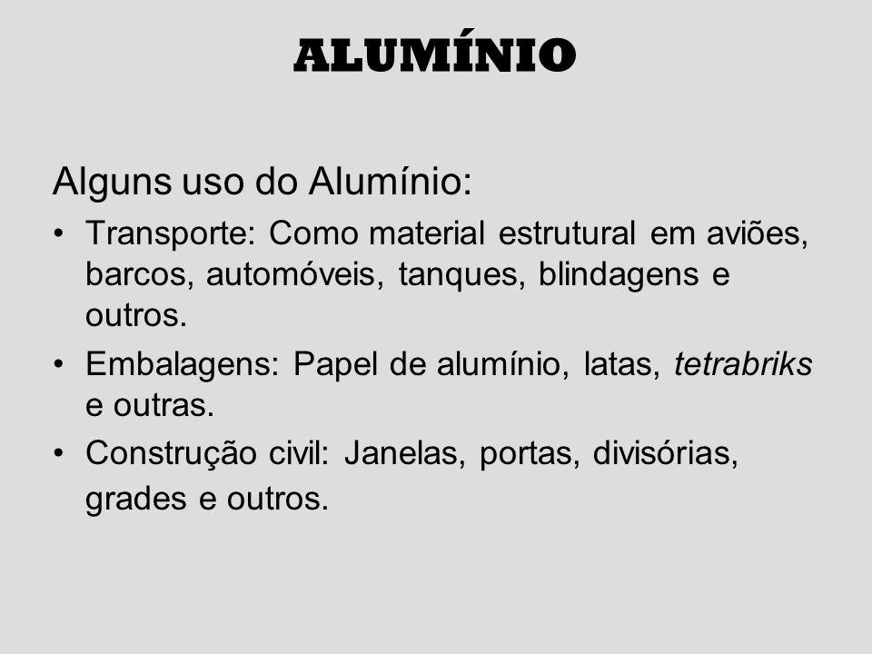 ALUMÍNIO Alguns uso do Alumínio: