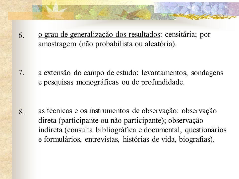 6. o grau de generalização dos resultados: censitária; por amostragem (não probabilista ou aleatória).