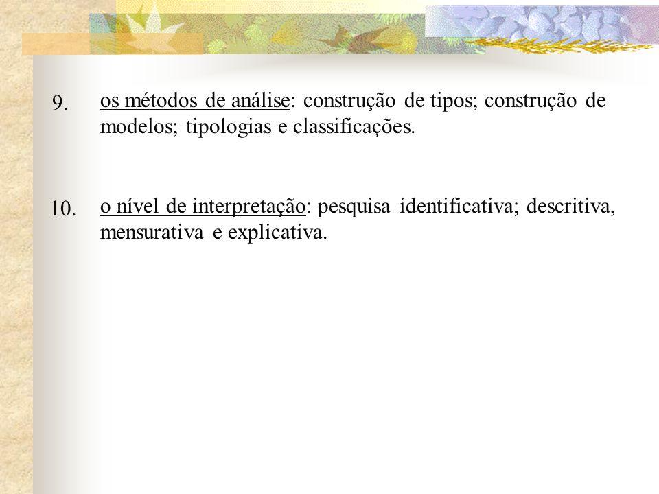 9. os métodos de análise: construção de tipos; construção de modelos; tipologias e classificações.