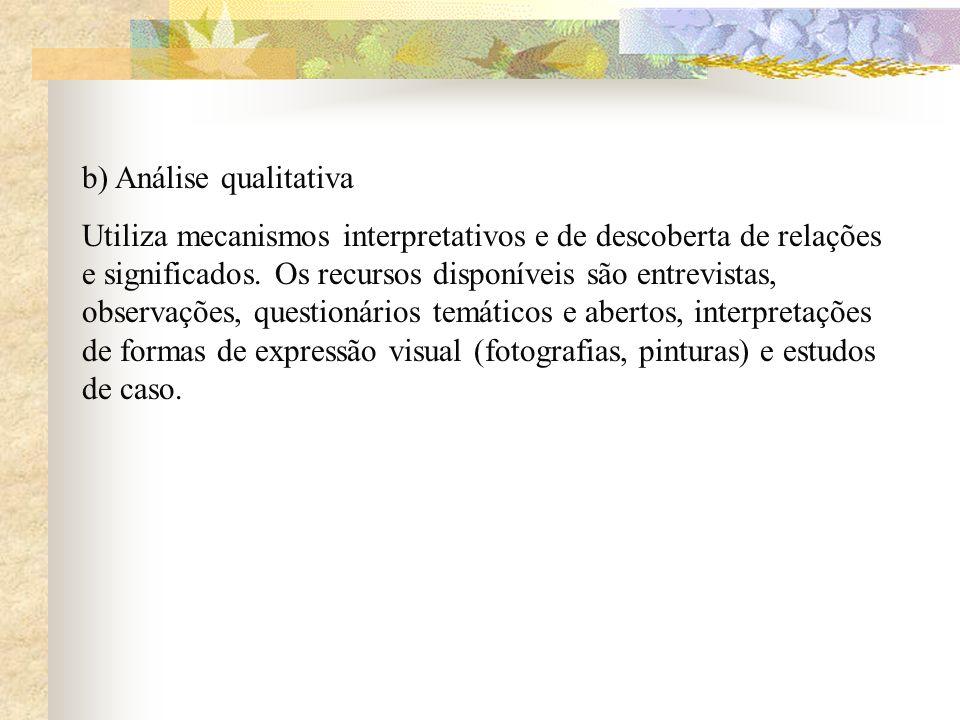 b) Análise qualitativa