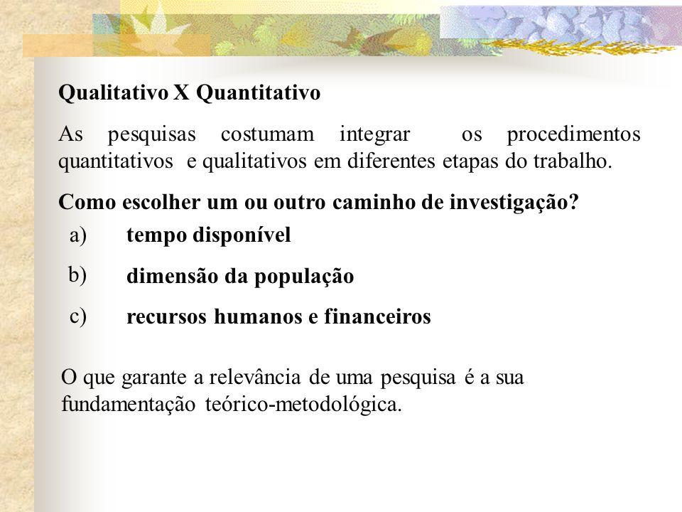 Qualitativo X Quantitativo