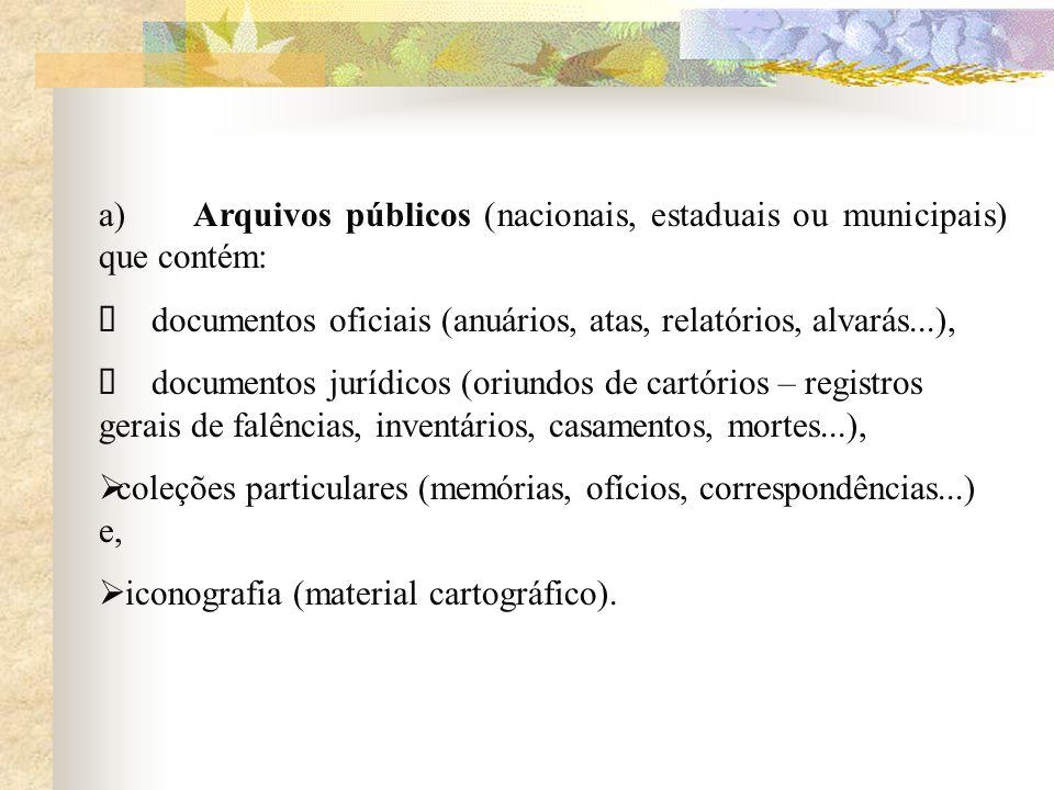 a) Arquivos públicos (nacionais, estaduais ou municipais) que contém: Ø documentos oficiais (anuários, atas, relatórios, alvarás...),