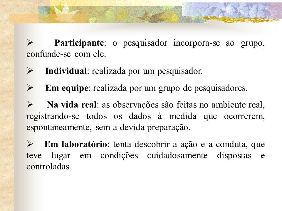 Participante: o pesquisador incorpora-se ao grupo, confunde-se com ele.