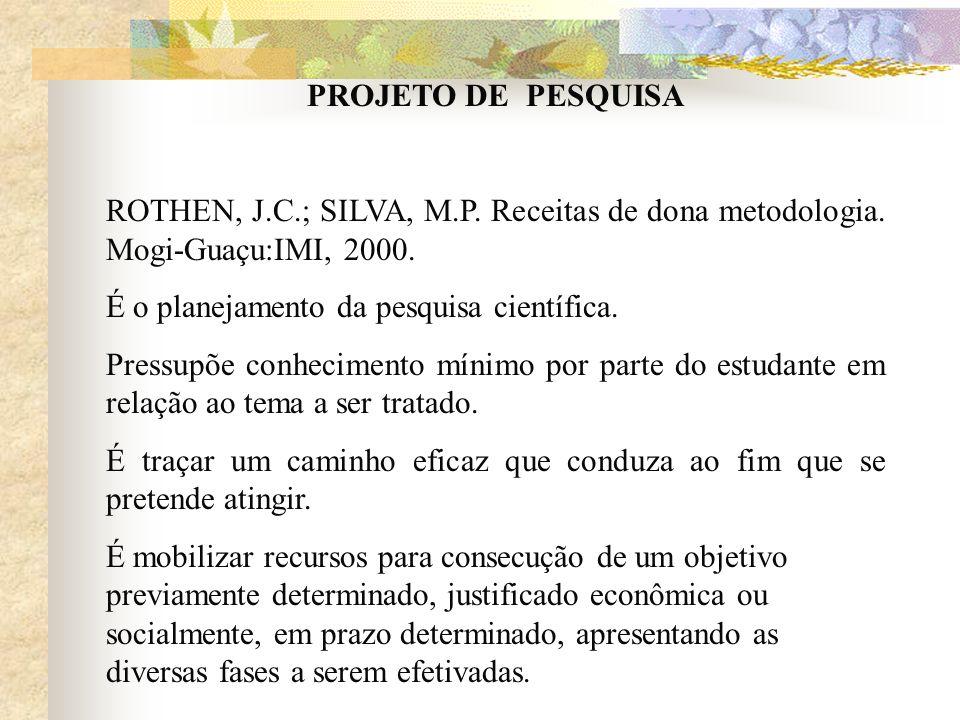PROJETO DE PESQUISA ROTHEN, J.C.; SILVA, M.P. Receitas de dona metodologia. Mogi-Guaçu:IMI, 2000.