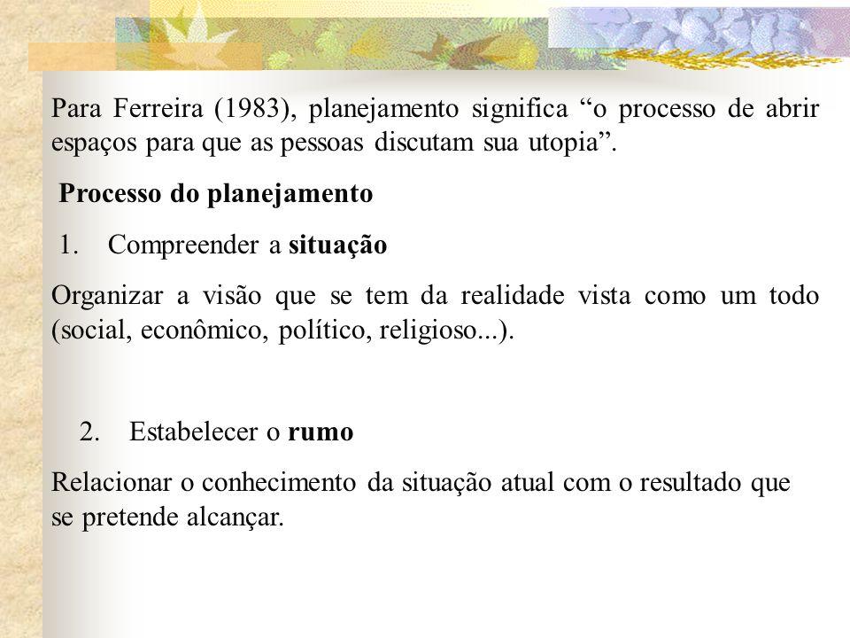 Para Ferreira (1983), planejamento significa o processo de abrir espaços para que as pessoas discutam sua utopia .