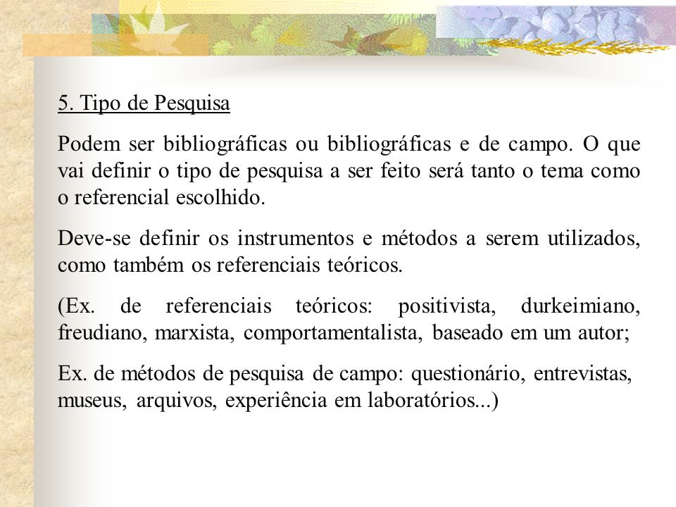5. Tipo de Pesquisa