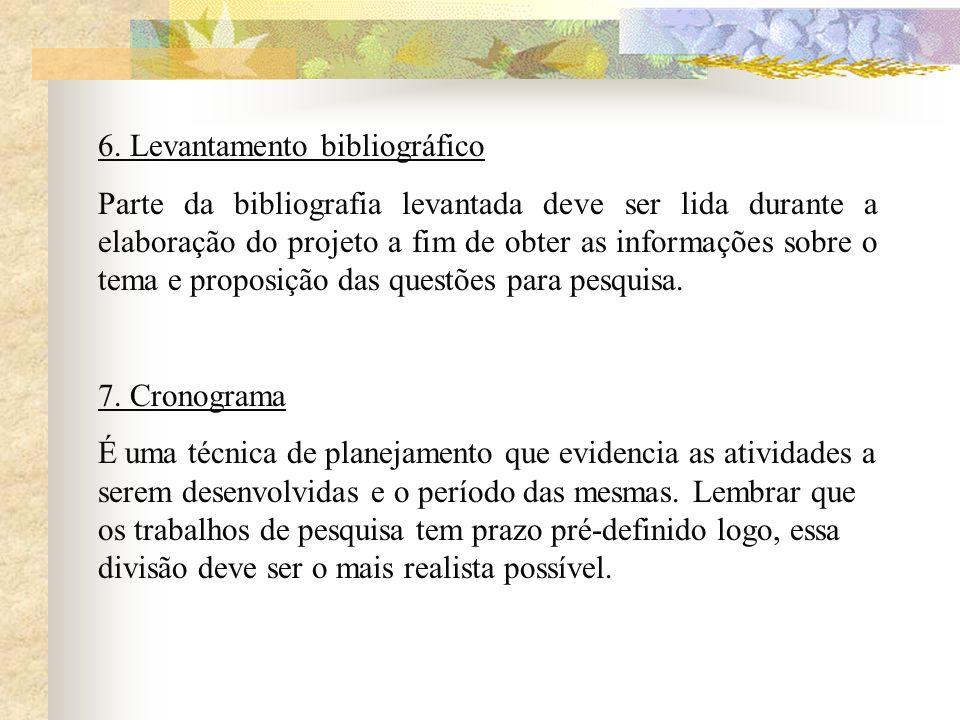 6. Levantamento bibliográfico