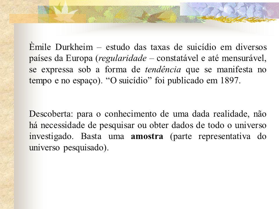 Èmile Durkheim – estudo das taxas de suicídio em diversos países da Europa (regularidade – constatável e até mensurável, se expressa sob a forma de tendência que se manifesta no tempo e no espaço). O suicídio foi publicado em 1897.