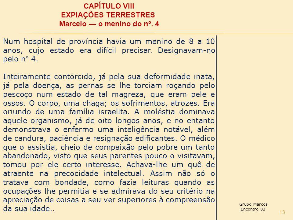CAPÍTULO VIII EXPIAÇÕES TERRESTRES Marcelo — o menino do nº. 4