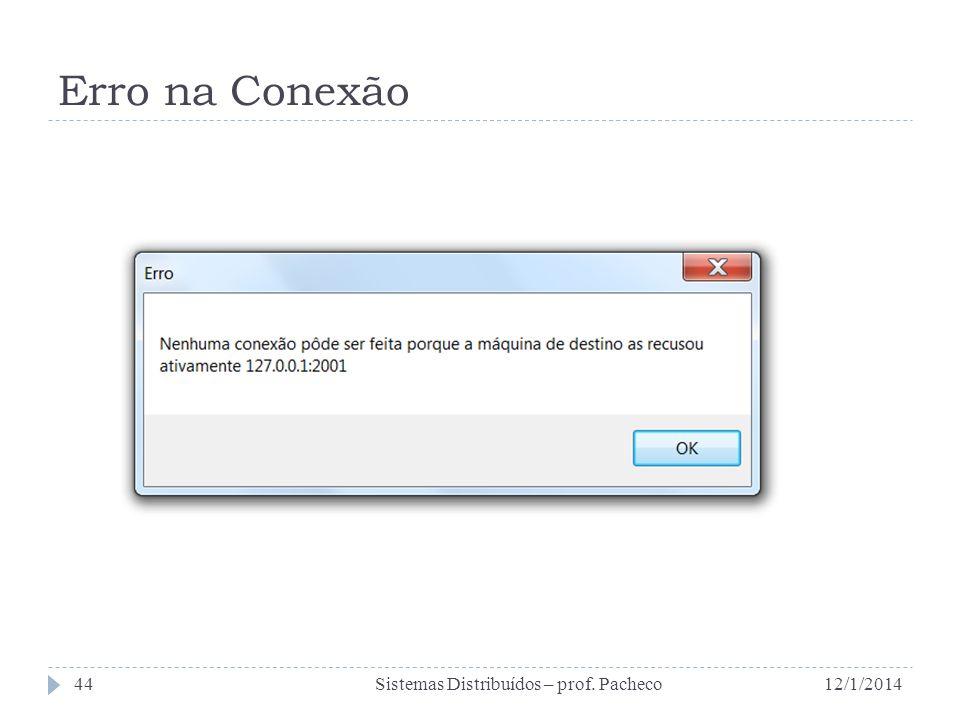 Erro na Conexão Sistemas Distribuídos – prof. Pacheco 25/03/2017