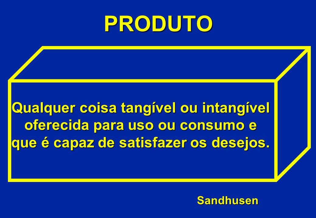 PRODUTO Qualquer coisa tangível ou intangível oferecida para uso ou consumo e que é capaz de satisfazer os desejos.