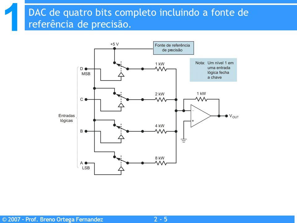 DAC de quatro bits completo incluindo a fonte de referência de precisão.