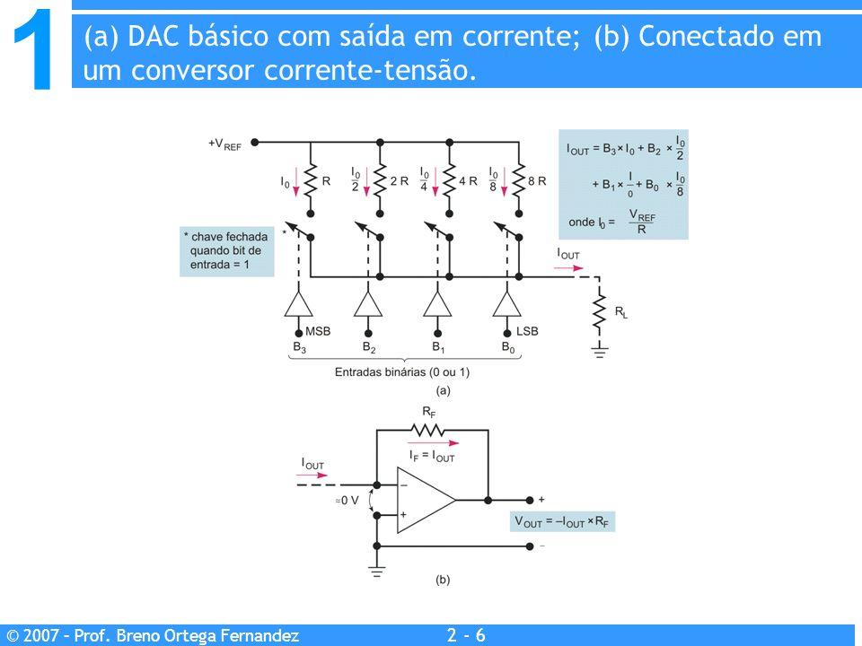 (a) DAC básico com saída em corrente; (b) Conectado em um conversor corrente-tensão.