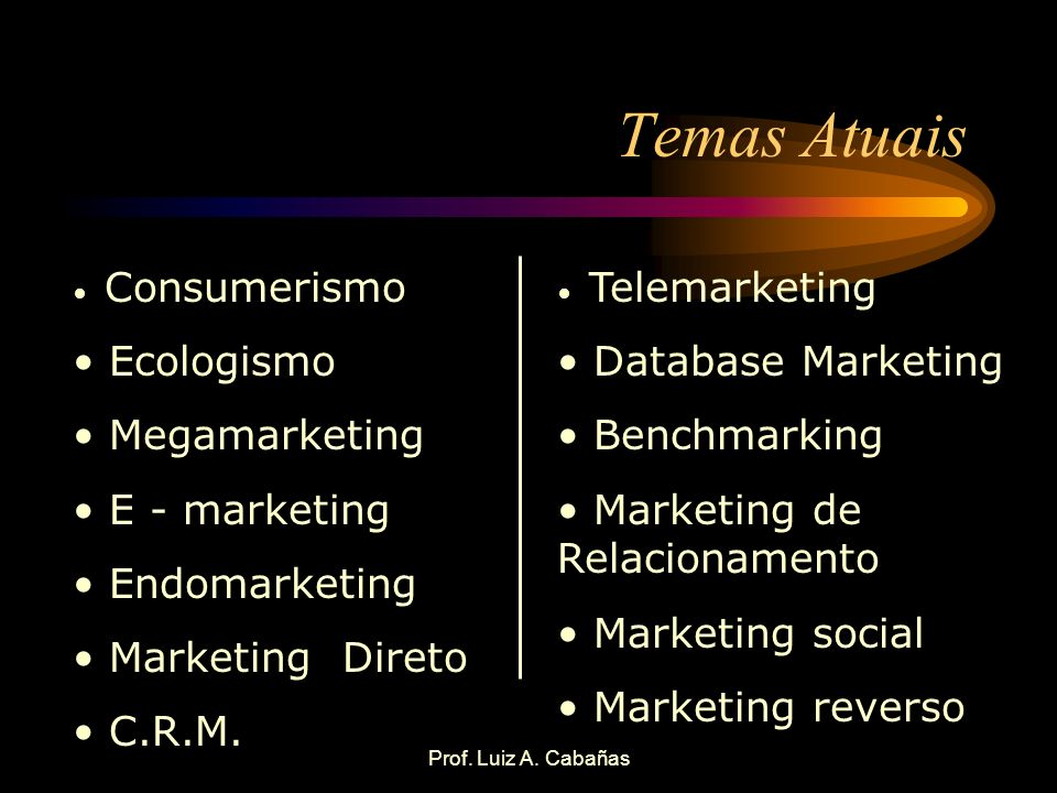 Temas Atuais Ecologismo Megamarketing E - marketing Endomarketing