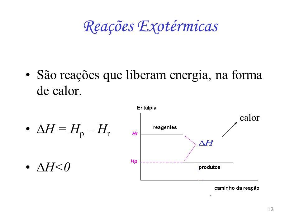 Reações Exotérmicas São reações que liberam energia, na forma de calor. H = Hp – Hr H<0 calor