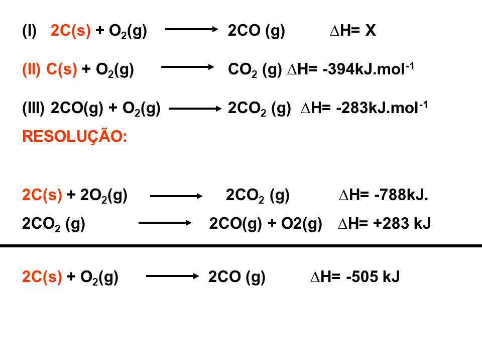 (I) 2C(s) + O2(g) 2CO (g) ∆H= X