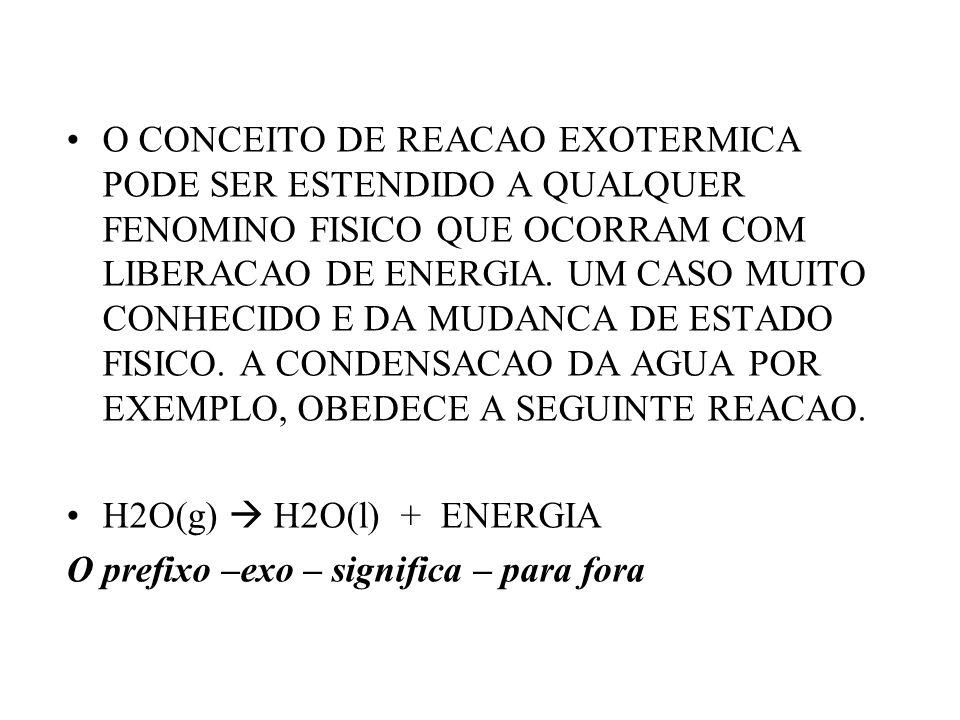 O CONCEITO DE REACAO EXOTERMICA PODE SER ESTENDIDO A QUALQUER FENOMINO FISICO QUE OCORRAM COM LIBERACAO DE ENERGIA. UM CASO MUITO CONHECIDO E DA MUDANCA DE ESTADO FISICO. A CONDENSACAO DA AGUA POR EXEMPLO, OBEDECE A SEGUINTE REACAO.