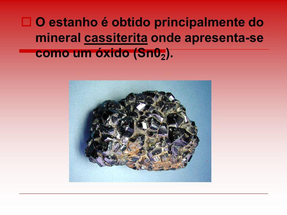 O estanho é obtido principalmente do mineral cassiterita onde apresenta-se como um óxido (Sn02).