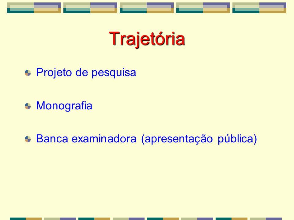 Trajetória Projeto de pesquisa Monografia