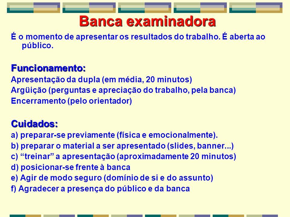 Banca examinadora Funcionamento: Cuidados: