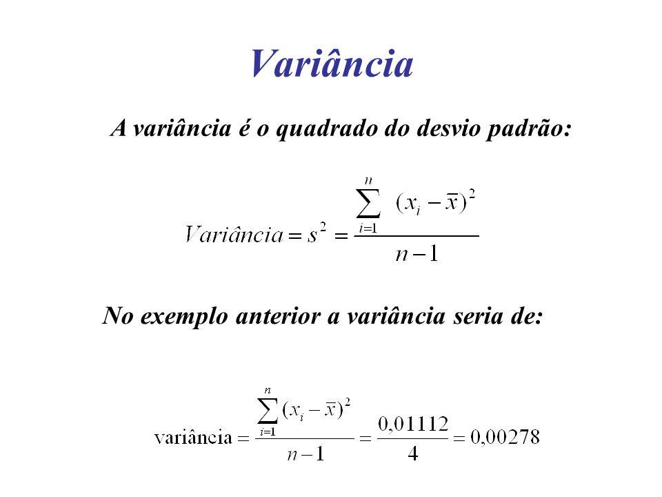 Variância A variância é o quadrado do desvio padrão: