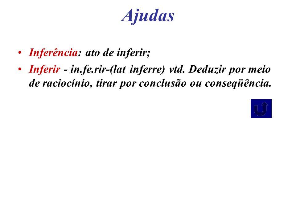 Ajudas Inferência: ato de inferir;