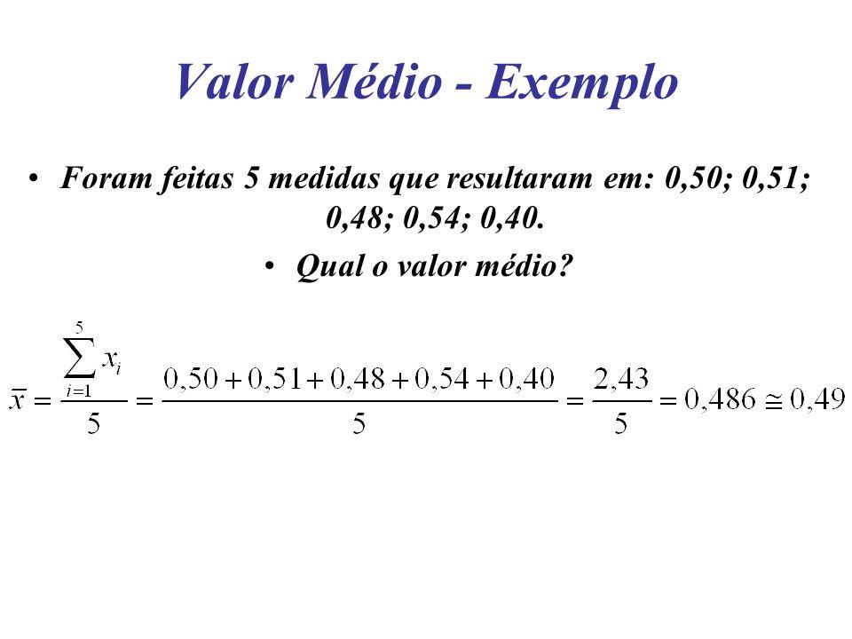 Valor Médio - Exemplo Foram feitas 5 medidas que resultaram em: 0,50; 0,51; 0,48; 0,54; 0,40.