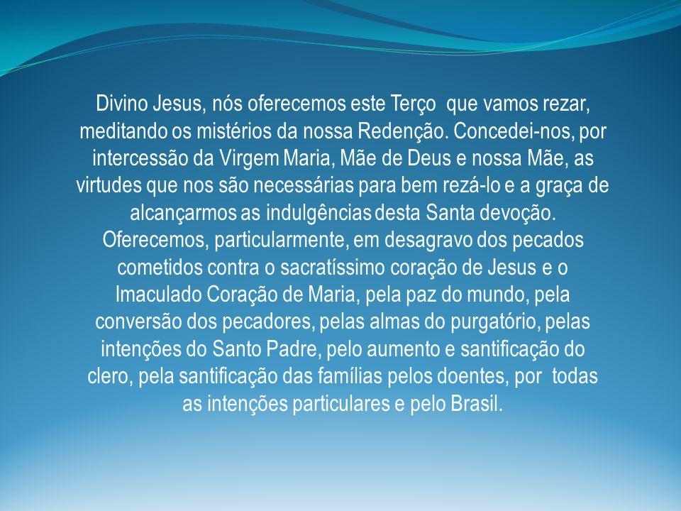 Divino Jesus, nós oferecemos este Terço que vamos rezar, meditando os mistérios da nossa Redenção.