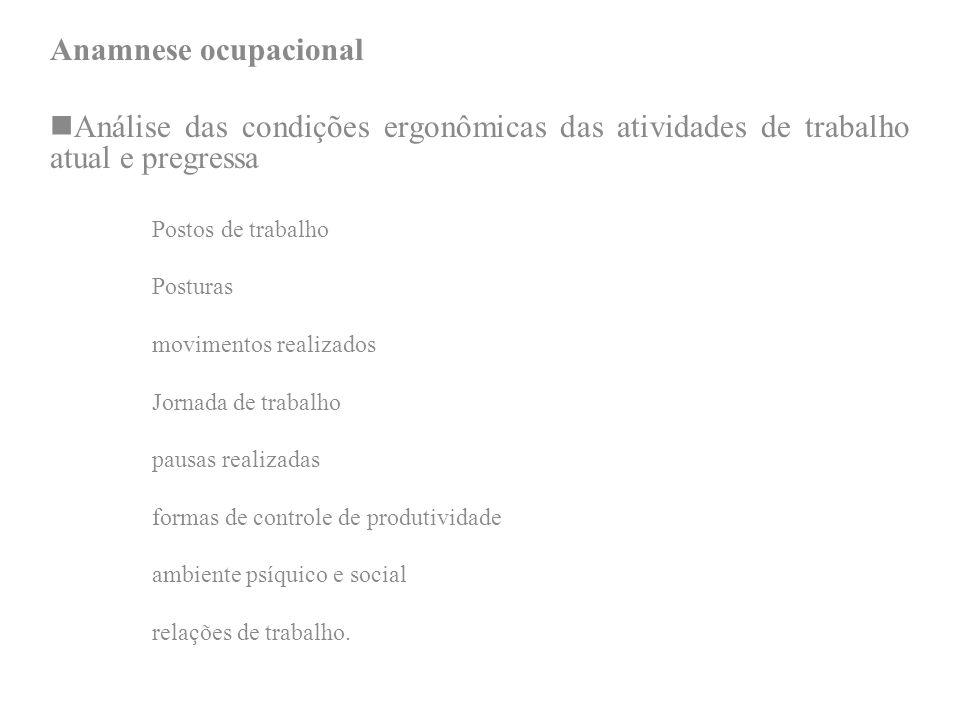 Anamnese ocupacionalAnálise das condições ergonômicas das atividades de trabalho atual e pregressa.