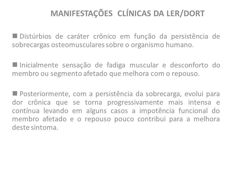 MANIFESTAÇÕES CLÍNICAS DA LER/DORT