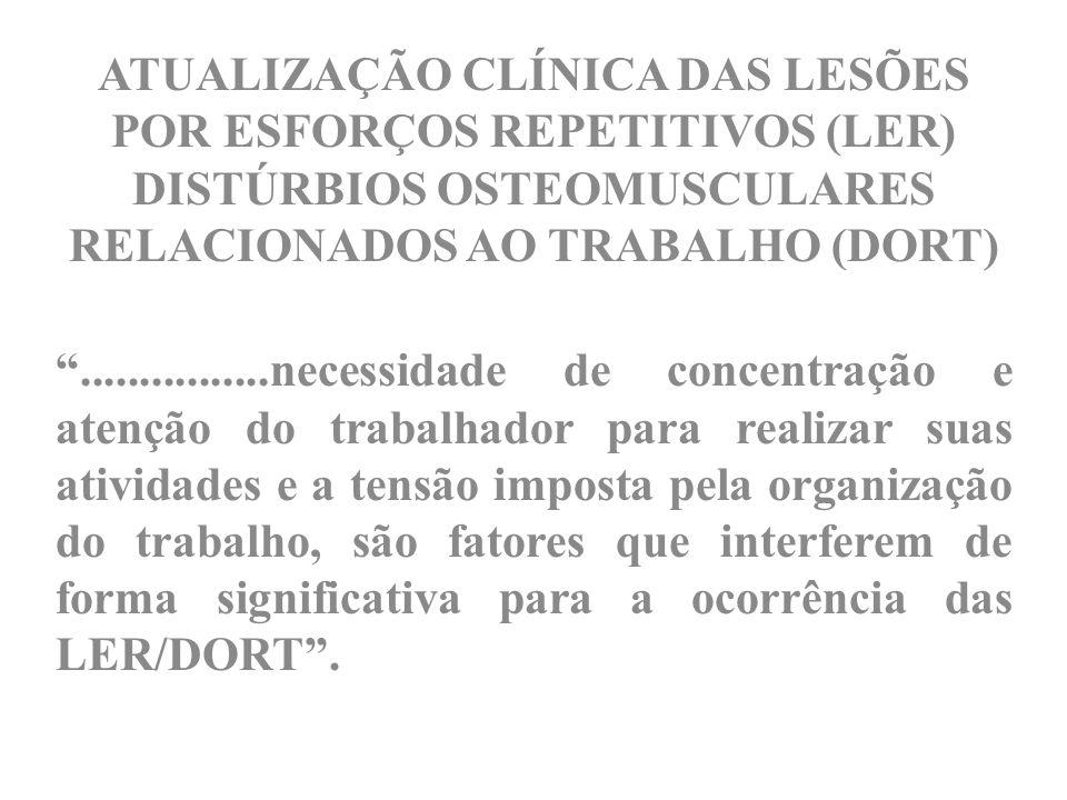 ATUALIZAÇÃO CLÍNICA DAS LESÕES POR ESFORÇOS REPETITIVOS (LER) DISTÚRBIOS OSTEOMUSCULARES RELACIONADOS AO TRABALHO (DORT)