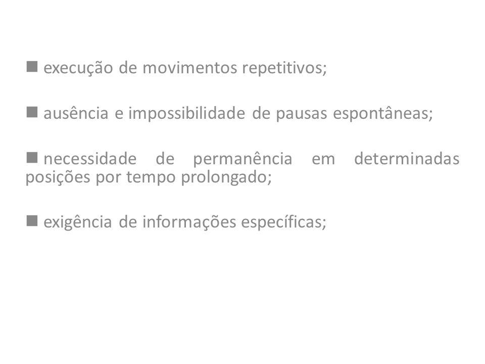 execução de movimentos repetitivos;