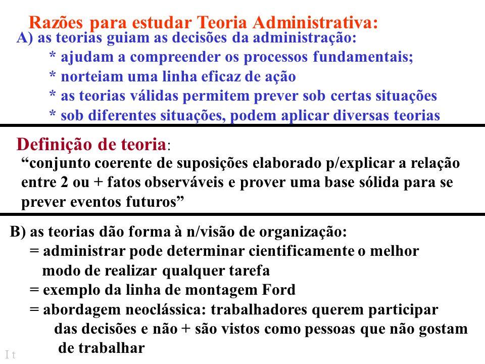 Razões para estudar Teoria Administrativa: