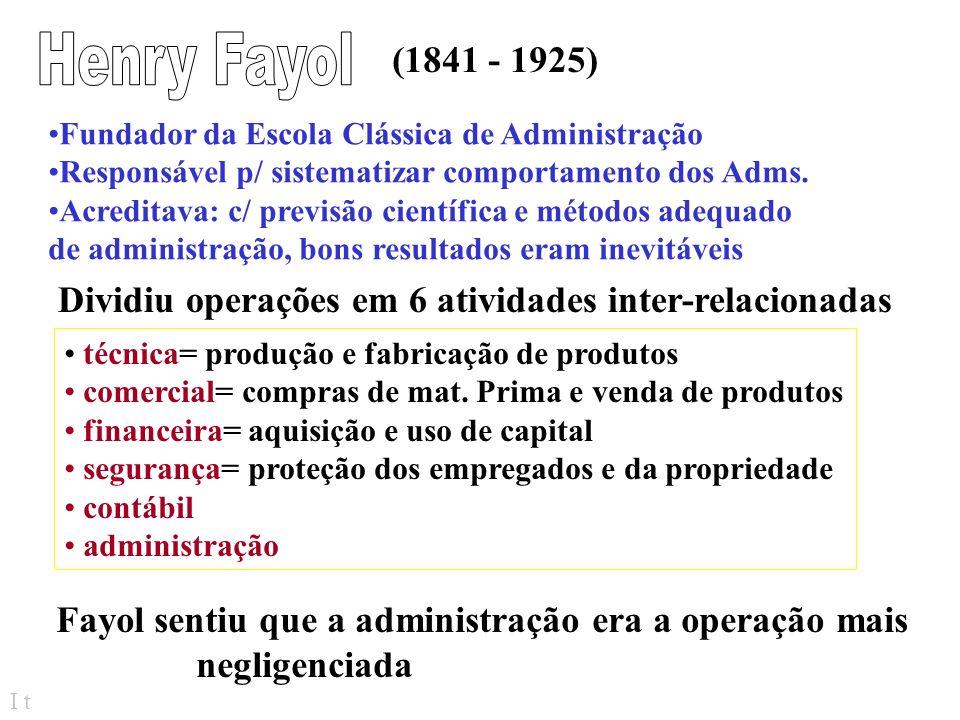Henry Fayol (1841 - 1925) Fundador da Escola Clássica de Administração. Responsável p/ sistematizar comportamento dos Adms.