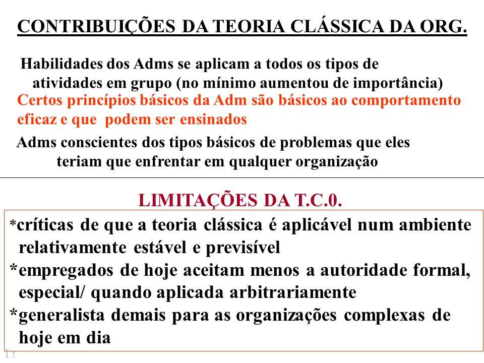 CONTRIBUIÇÕES DA TEORIA CLÁSSICA DA ORG.